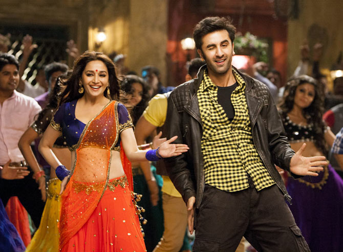 Madhuri Dixit and Ranbir Kapoor in Yeh Jawaani Yeh Deewani