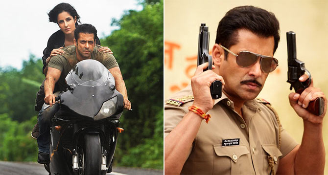 Katrina Kaif and Salman Khan in Ek Tha Tiger and Salman Khan in Dabangg 2