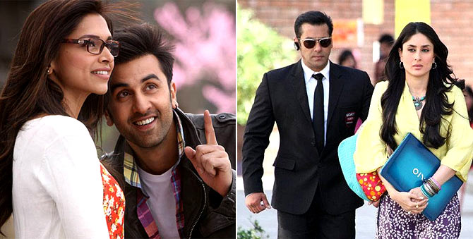 Deepika Padukone and Ranbir Kapoor in Yeh Jawaani Hai Deewani, Salman Khan and Kareena Kapoor in Bodyguard