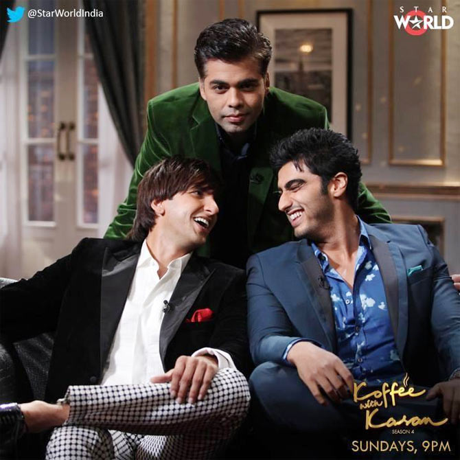 Ranveer Singh and Arjun Kapoor with Karan Johar on Koffee With Karan