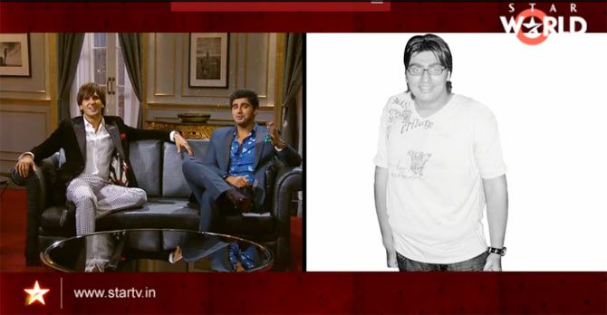 Arjun Kapoor and Ranveer Singh on Koffee With Karan. right: Arjun Kapoor before weight loss