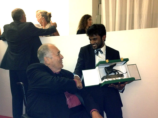 Bernardo Bertolucci with Shubhashish Bhutiani at Venice Film Festival