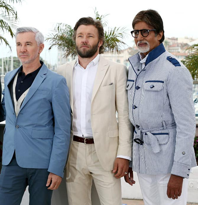 Baz Luhrmann, Joel Egerton and Amitabh Bachchan at the Great Gatsby photocall in Cannes