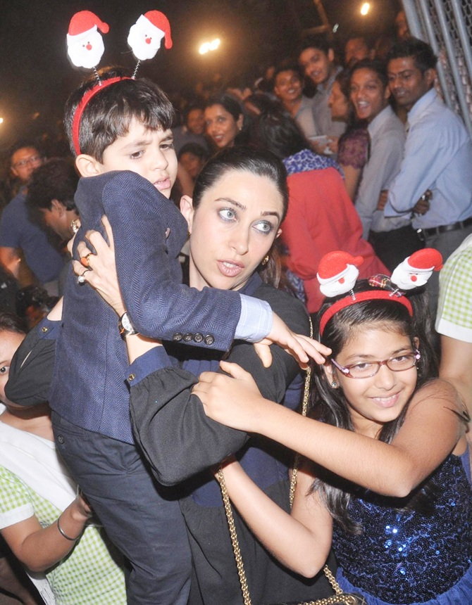 Karisma Kapoor with kids Samaira and Kiaan Raj Kapoor