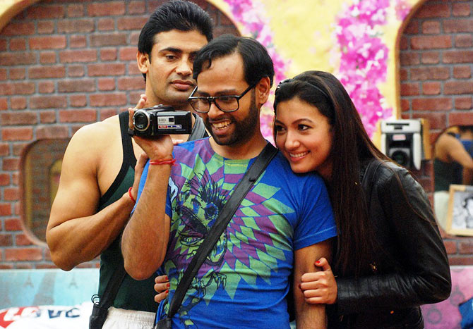 Sangram, Andy and Gauahar in Bigg Boss