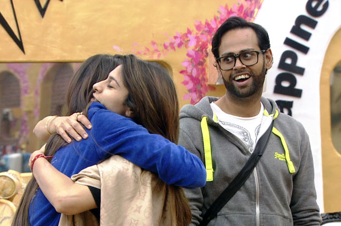 Gauahar, Tanisha and Andy in Bigg Boss