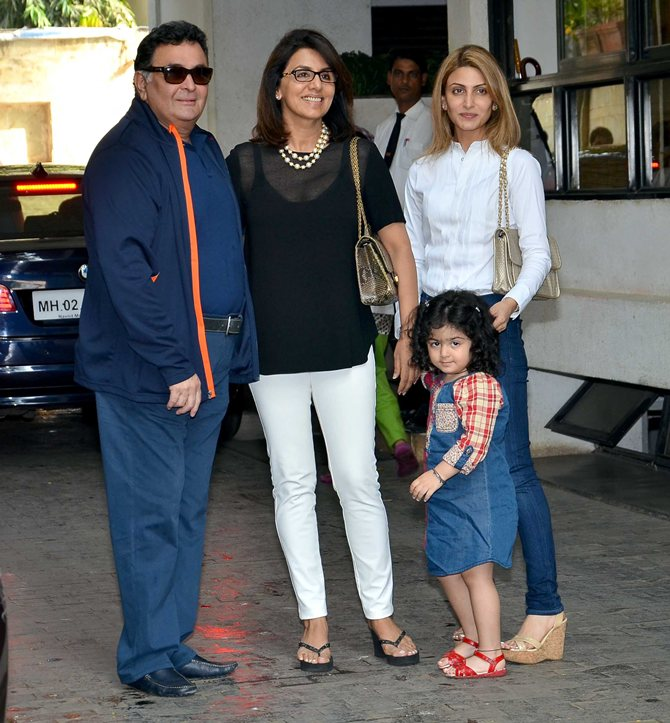 Rishi and Neetu Kapoor, Riddhima Kapoor Sahni and Samara