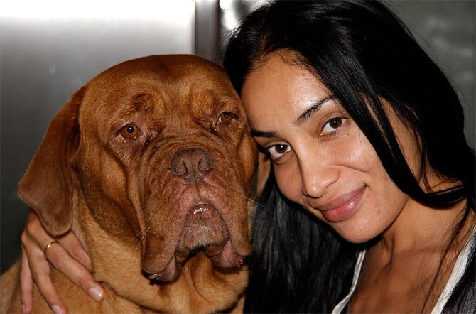Sofia Hayat with her dog