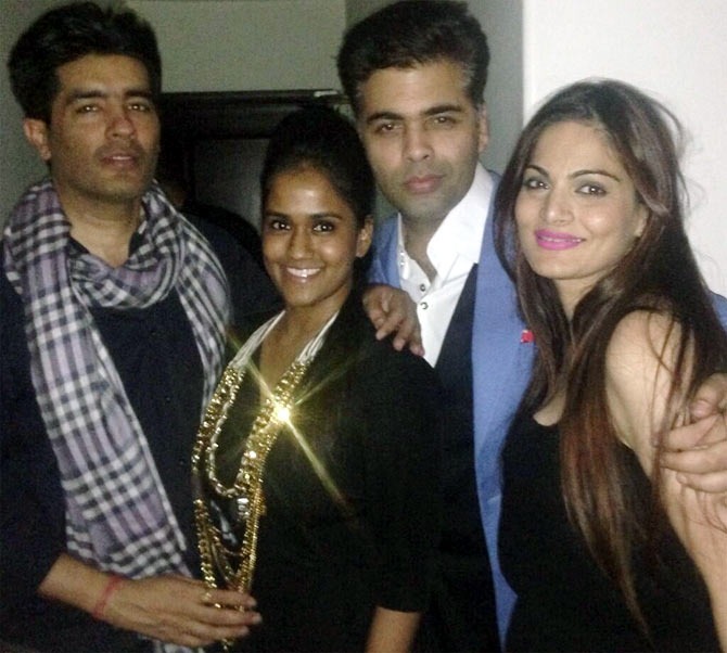 Manish Malhotra and Karan Johar with Arpita and Alvira Agnihotri