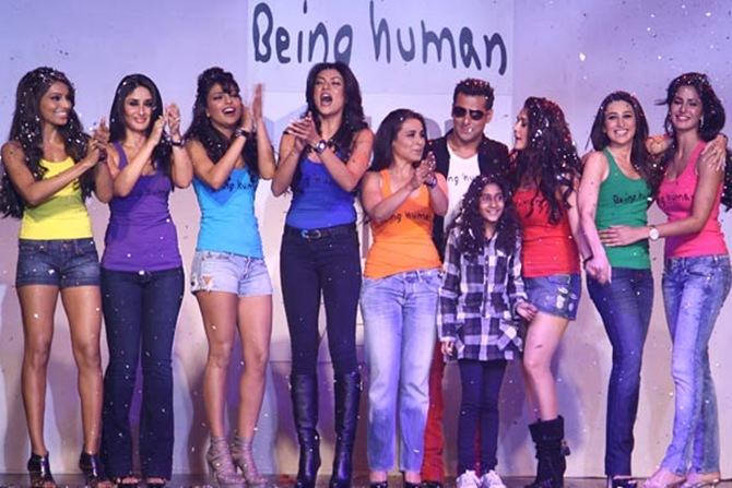 Salman Khan at the Being Human ramp show with fellow film stars