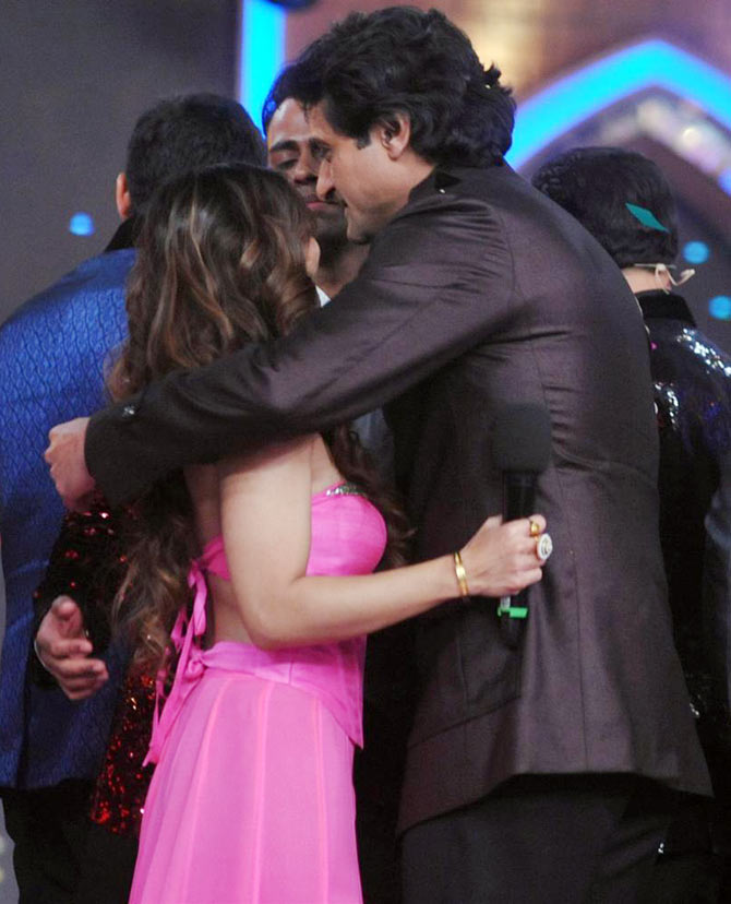 Tanisha Mukherjee with Armaan Kohli on Bigg Boss 7 finale