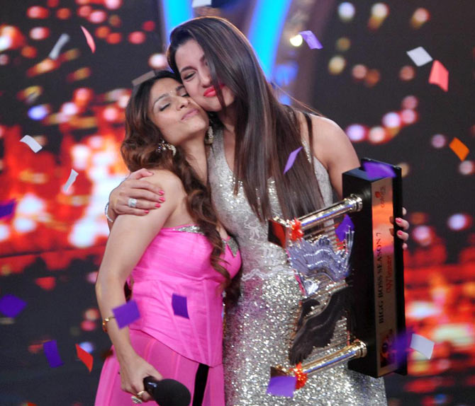 Tanisha Mukherjee and Gauahar Khan on Bigg Boss 7 finale