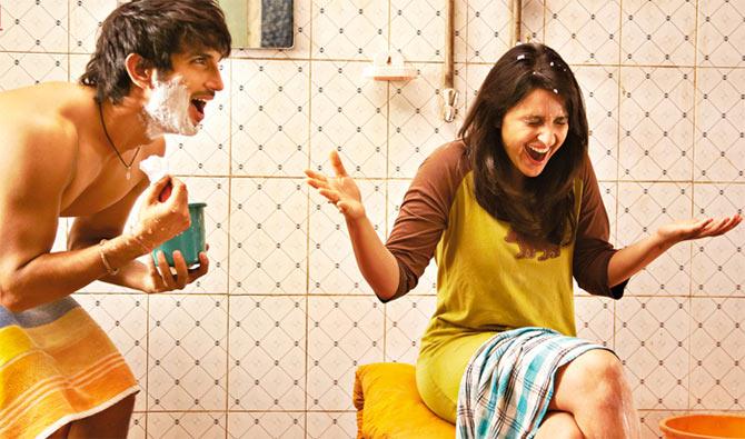 Sushant Singh Rajput and Parineeti Chopra in Shuddh Desi Romance