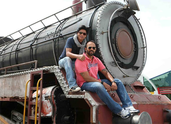 Shah Rukh Khan and Rohit Shetty on the sets of Chennai Express
