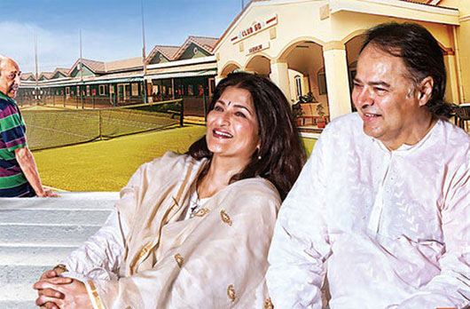 Farooque Sheikh with Sarika at a Club 60 promotional event.