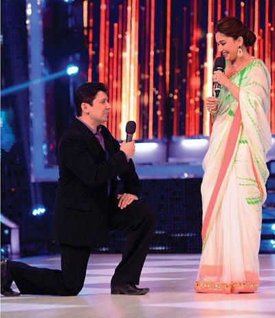 Madhuri Dixit and Sriram Nene on the sets of Jhalak Dikhhla Jaa