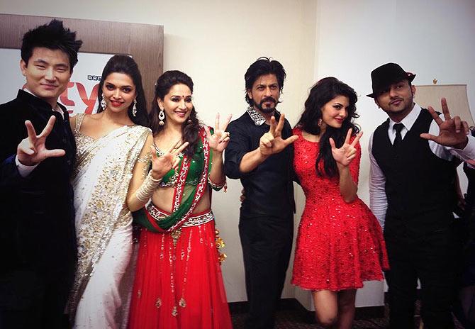 Meiyang Chang, Deepika Padukone, Madhuri Dixit, Shah Rukh Khan, Jacqueline Fernandez, Honey Singh