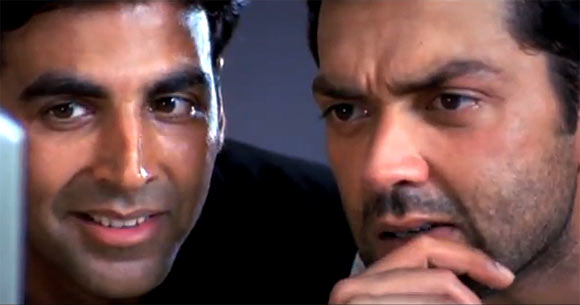 Akshay Kumar with Bobby Deol in Ajnabee