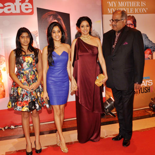 Sridevi and Boney Kapoor with daughters Jahnvi and Khushi