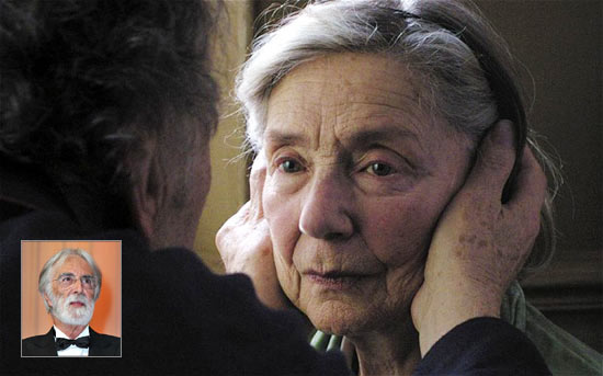 A scene from Amour. Inset: Director Michael Haneke