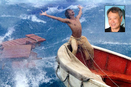 A scene from Life Of Pi. Inset: Ang Lee
