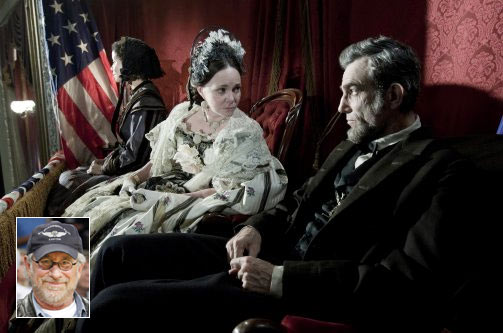 A scene from Lincoln. Inset: Steven Spielberg