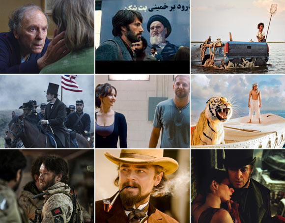 Scenes from Armour, Argo, Beasts Of The Southern Wild, Lincoln, Silver Linings Playbook, Life Of Pi, Zero Dark Thirty, Django Unchained and Les Miserables