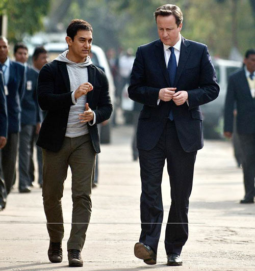 Aamir Khan with the British Prime Minister David Cameron