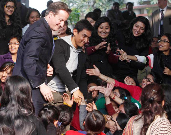 Aamir Khan and David Cameron greet the students