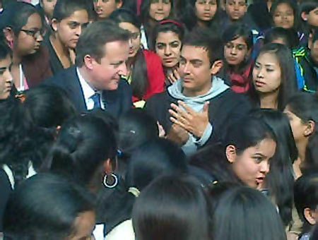 David Cameron and Aamir Khan interact with the students
