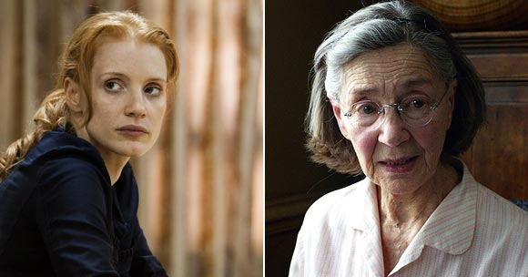 Jessica Chastain in Zero Dark Thirty and Emmanuelle Riva in Amour