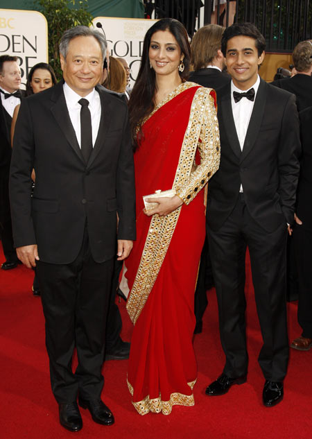 Ange Lee with Tabu and Suraj Sharma at 2013 Golden Globes