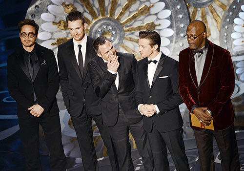 Left to right: Robert Downey Jr, Chris Evans, Mark Ruffalo, Jeremy Renner and Samuel L Jackson