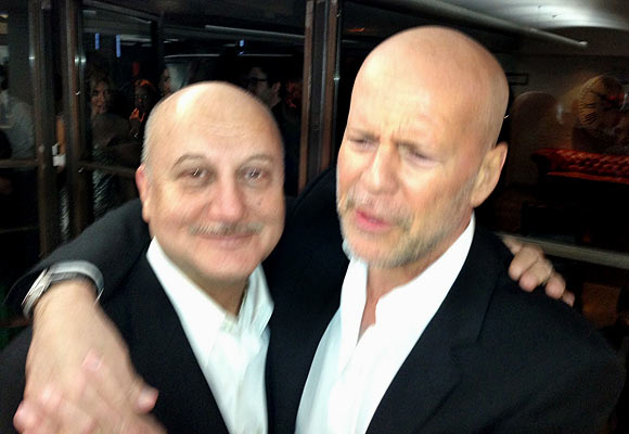 Bruce Willis and Anupam Kher