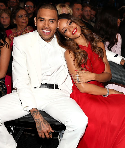 Rihanna and Chris Brown at the 2013 Grammys