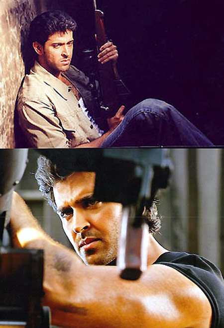 Top: Hrithik Roshan as Amaan in Fiza. Bottom: As Abbas in Mission Kashmir