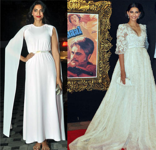 Left to right: Sonam Kapoor at Imran Khan's housewarming party and at the premiere of Jab Tak Hai Jaan