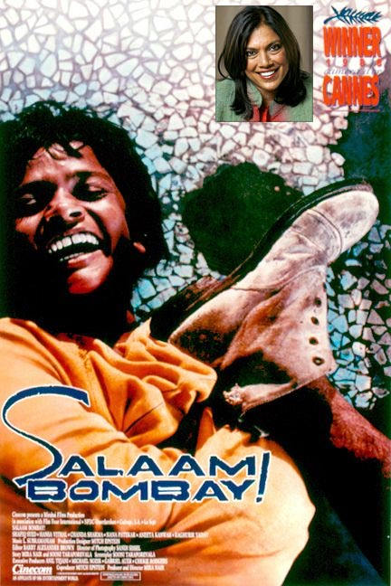 Movie poster of Salaam Bombay!. Inset: Mira Nair