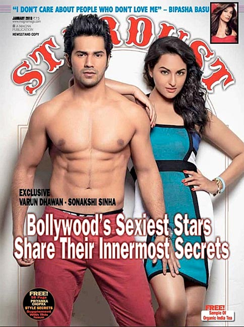 Varun Dhawan with Sonakshi Sinha on the cover of Stardust