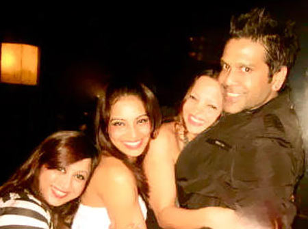 Bipasha Basu, Deanne Pandey and Rocky S with friends