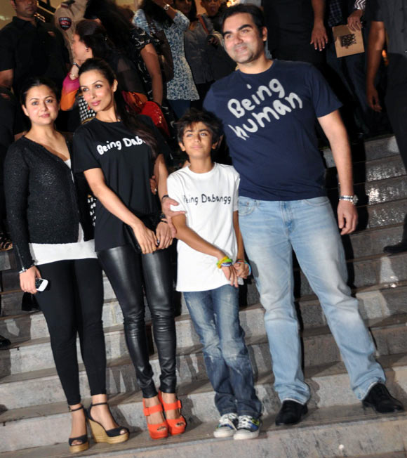 Arbaaz with wife Malaika, sister-in-law Amrita Arora and son Arhaan Khan