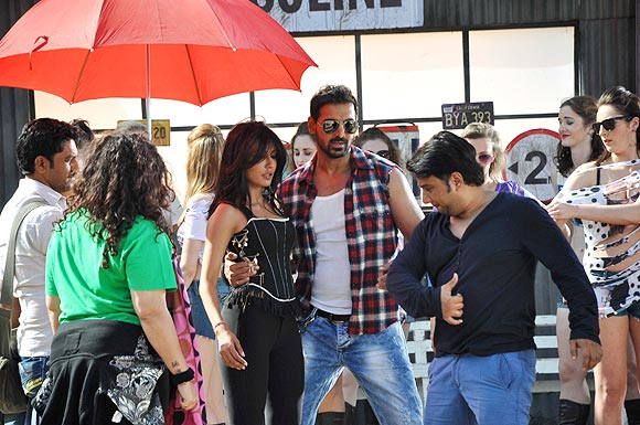 John Abraham, Chitrangada Singh and choreographer Ahmed Khan