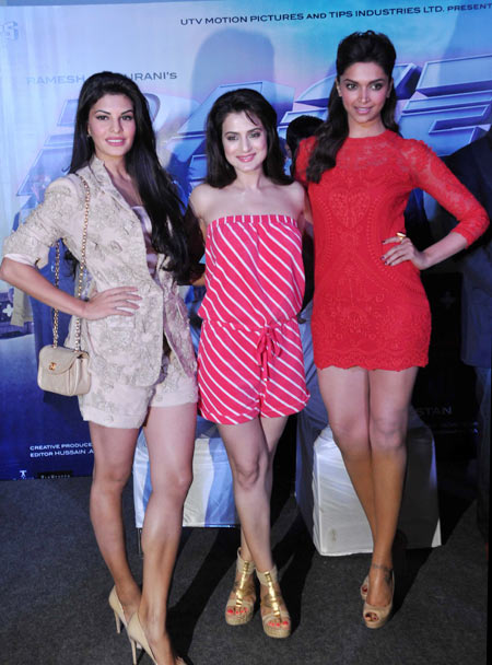 Jacquelien Fernandes, Ameesha Patel and Deepika Padukone