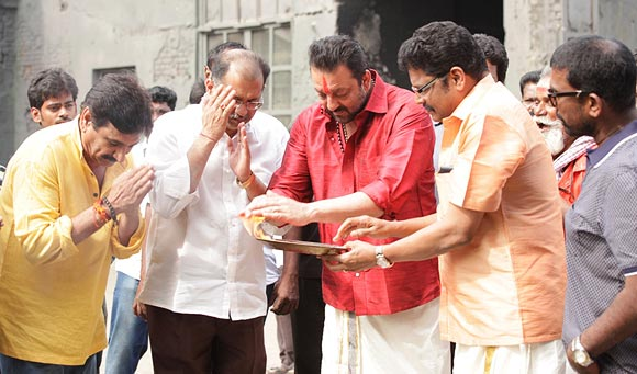 Sanjay Dutt participates in the Pongal ritual with K S Ravikumar and Ramesh Kanna