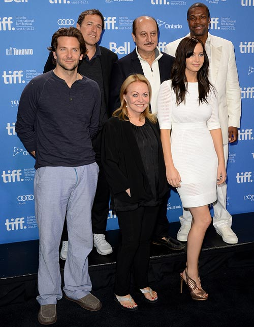 Bradley Cooper, director David O. Russell, Jacki Weaver, Anupam Kher, Jennifer Lawrence, and Chris Tucker