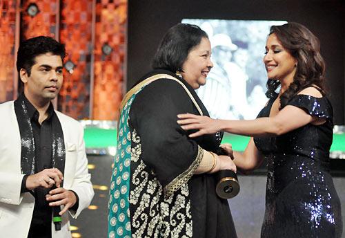 Karan Johar, Pamela Chopra and Madhuri Dixit