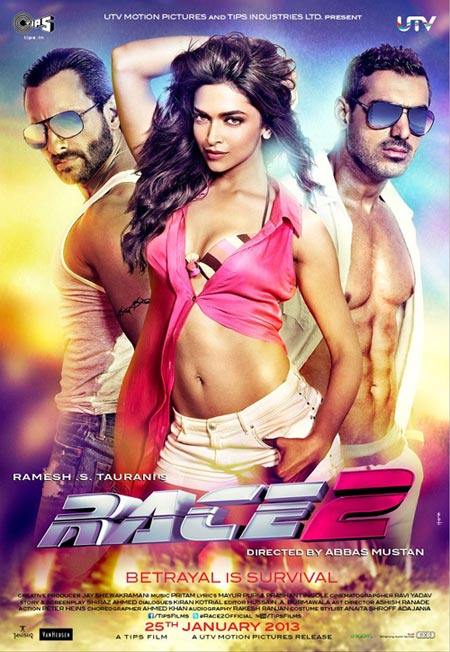 Deepika Padukone with Saif Ali Khan and John Abraham on the poster of Race 2