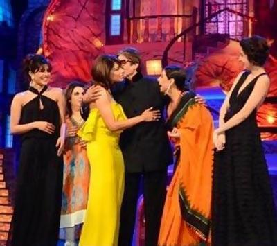 Amitabh Bachchan with Priyanka Chopra, Farah Khan, Bipasha Basu, Vidya Balan and Anushka Sharma