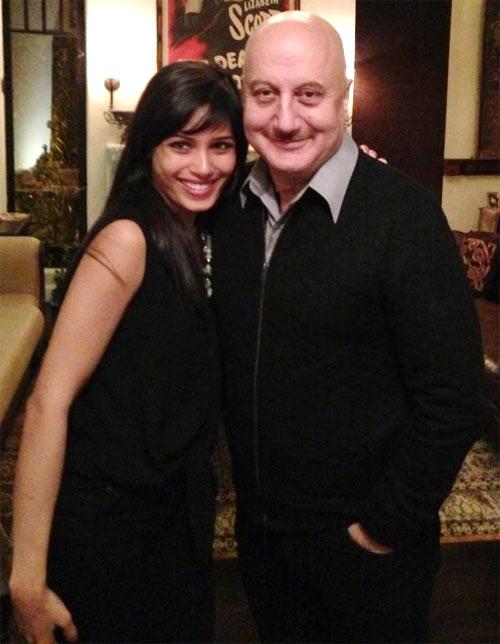 Frieda Pinto and Anupam Kher