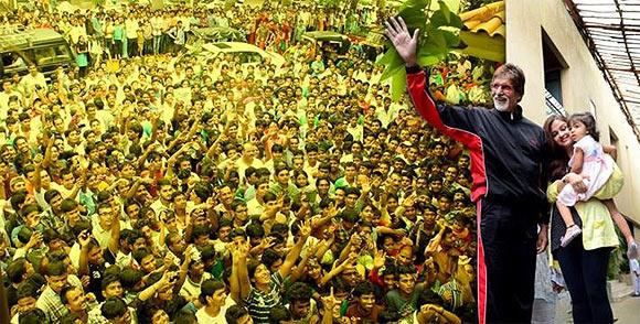 Amitabh, Aishwarya and Aaradhya Bachchan. greet the fans gathered outside Jalsa